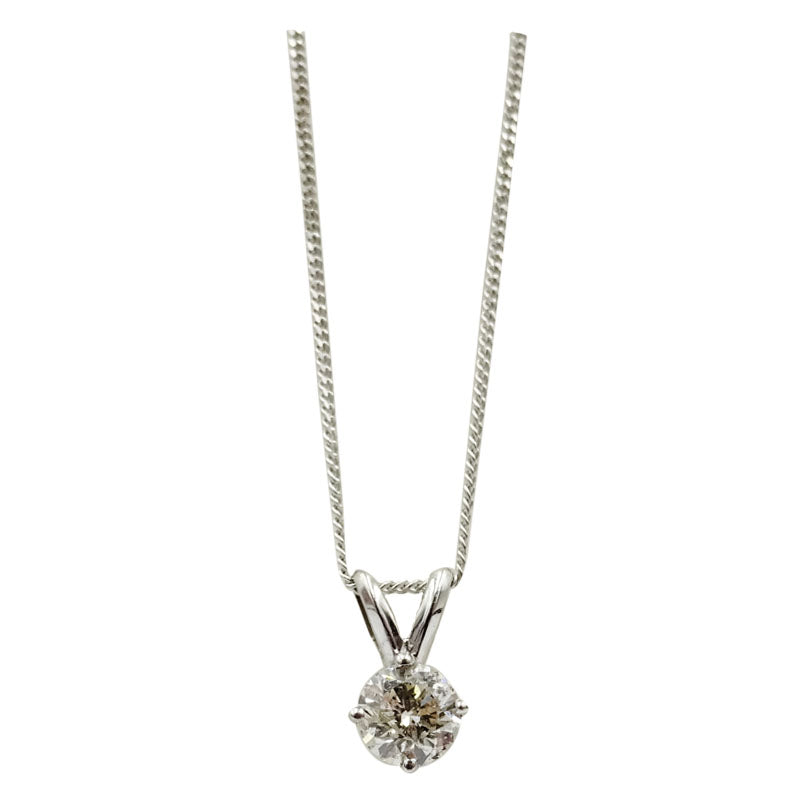 9ct White Gold 0.40ct Diamond Pendant Fine Curb Necklace - Richard Miles Jewellers