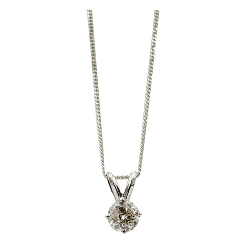 9ct White Gold  0.40ct Diamond Pendant Fine Curb Necklace 17inch 10.95mm 1g - Richard Miles Jewellers