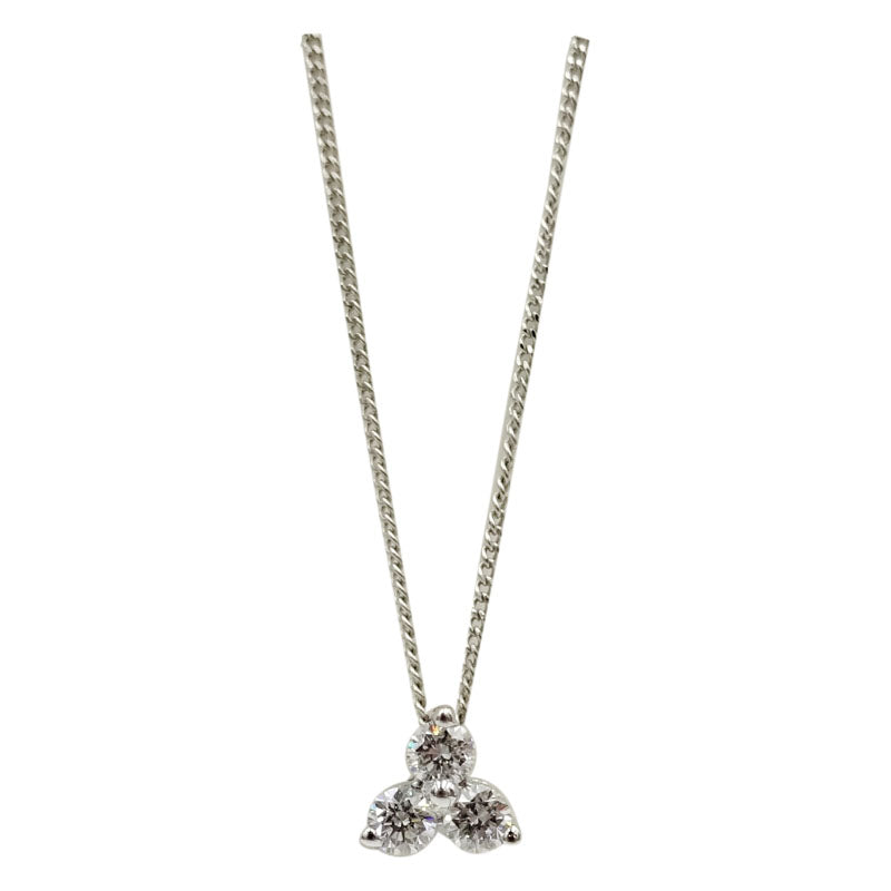 18ct White Gold 0.25ct Diamond Pendant Fine Curb Necklace 17inch 6mm 1.5g - Richard Miles Jewellers