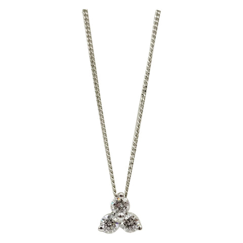 18ct White Gold 0.25ct Diamond Pendant Fine Curb Necklace 17inch 6mm 1.5g