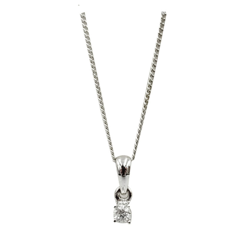 18ct White Gold 0.05ct Claw Set Diamond Pendant Fine Curb Necklace 16.5inch 9mm - Richard Miles Jewellers