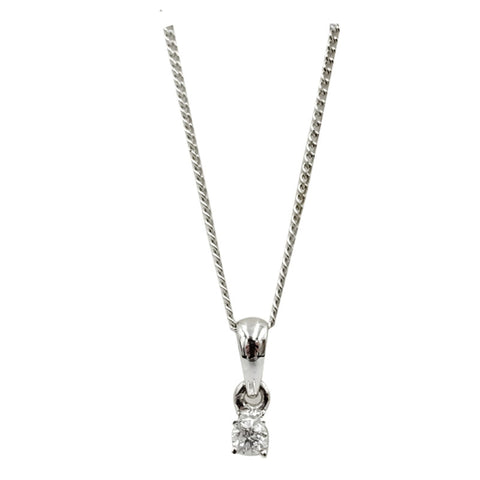 18ct White Gold 0.05ct Claw Set Diamond Pendant Fine Curb Necklace 16.5inch 9mm