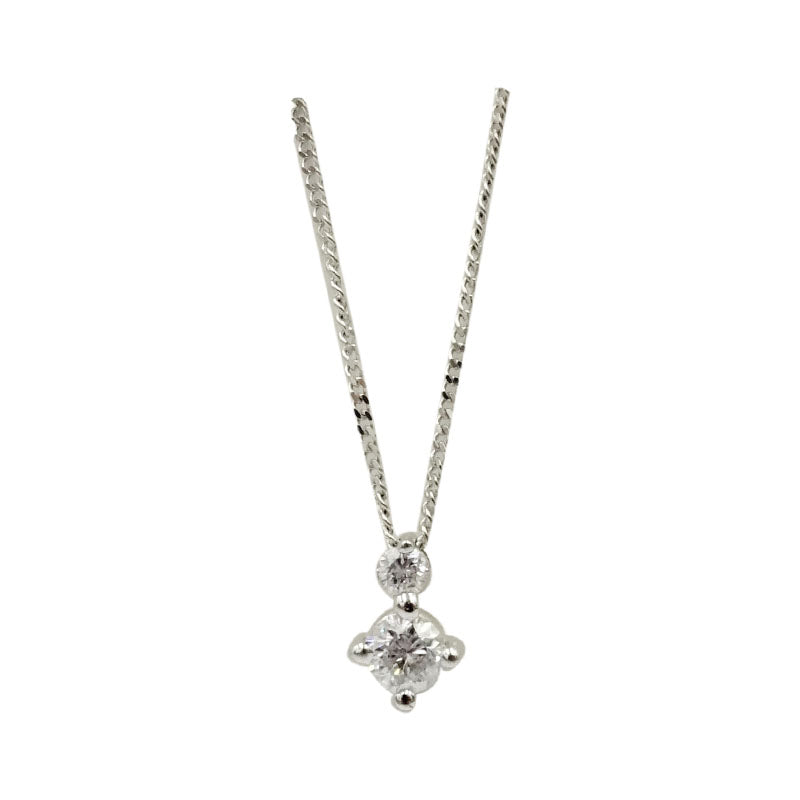 9ct White Gold 0.25ct Claw Set Diamond Pendant Fine Curb Necklace 17inch 7.9mm 1.2g - Richard Miles Jewellers