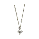 9ct White Gold 0.25ct Claw Set Diamond Pendant Fine Curb Necklace - Richard Miles Jewellers