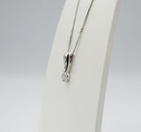 9ct White Gold 0.15ct Diamond Pendant Fine Curb Necklace 17inch 13.2mm 1.9g - Richard Miles Jewellers