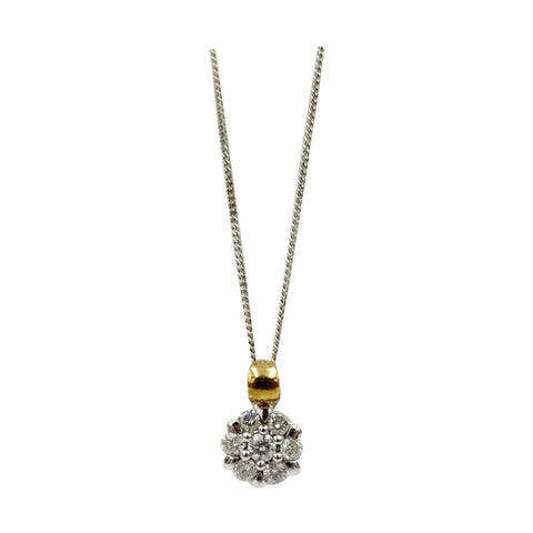 9ct 2 Colour Yellow White Gold 0.40ct Diamond Flower Cluster Fine Curb Necklace 17inch