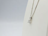 9ct White Gold 0.15ct Diamond Claw Set Pendant Fine Curb Necklace 17inch 1g 7.8mm