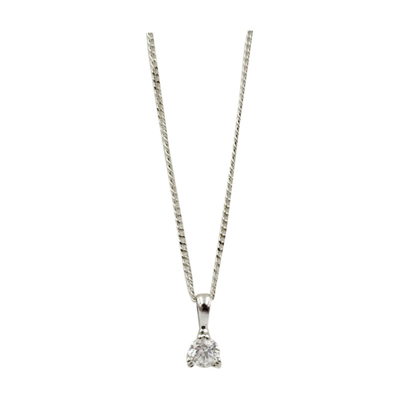 9ct White Gold 0.15ct Diamond Claw Set Pendant Fine Curb Necklace 17inch 1g 7.8mm - Richard Miles Jewellers