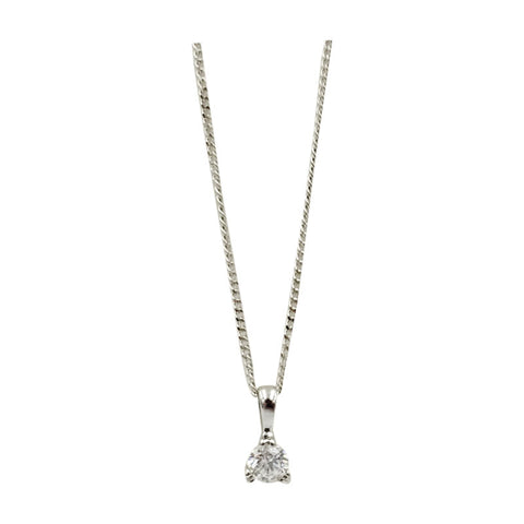 9ct White Gold 0.15ct Diamond Round Pendant Fine Curb Necklace - Richard Miles Jewellers