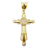 9ct Yellow Gold Round Cut CZ Set Large Sleek Finish Cross 8.1g 52mm 35mm - Richard Miles Jewellers