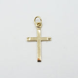 9ct Yellow Gold Small Plain Bevelled Edge Cross Pendant 0.3g - Richard Miles Jewellers