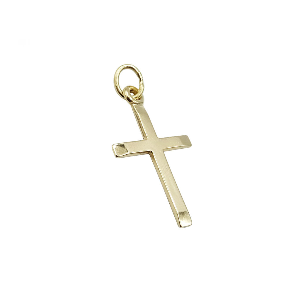9ct Yellow Gold Small Plain Bevelled Edge Cross Pendant - Richard Miles Jewellers