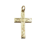 9ct Yellow Gold Heavy Engine Turned Cross Pendant 8g - Richard Miles Jewellers