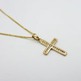 9ct Yellow Gold Channel Set Diamond Cross & Chain 3.1g - Richard Miles Jewellers