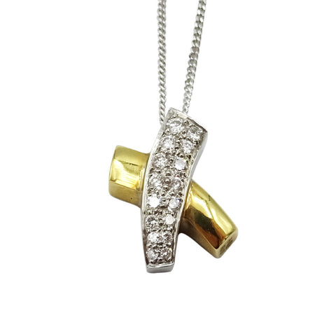 9ct White & Yellow Gold Diamond Set Cross Pendant & Chain 5g