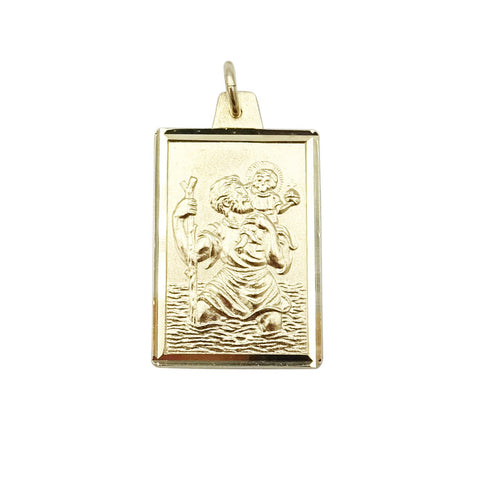 9ct Yellow Gold St Christopher Rectangle Pendant 2g - Richard Miles Jewellers