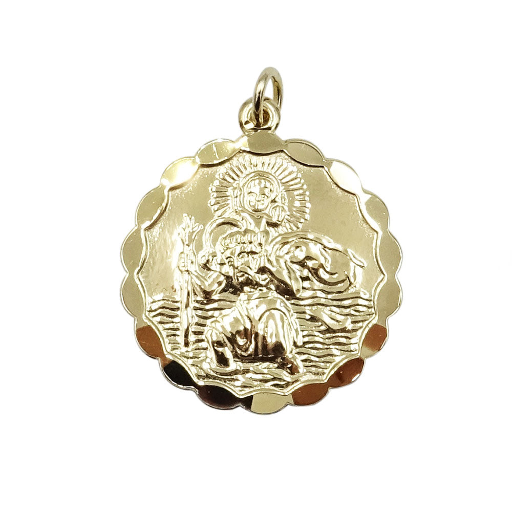 9ct Yellow Gold Solid Scalloped St.Christopher 2 Sided Design 5.5g - Richard Miles Jewellers