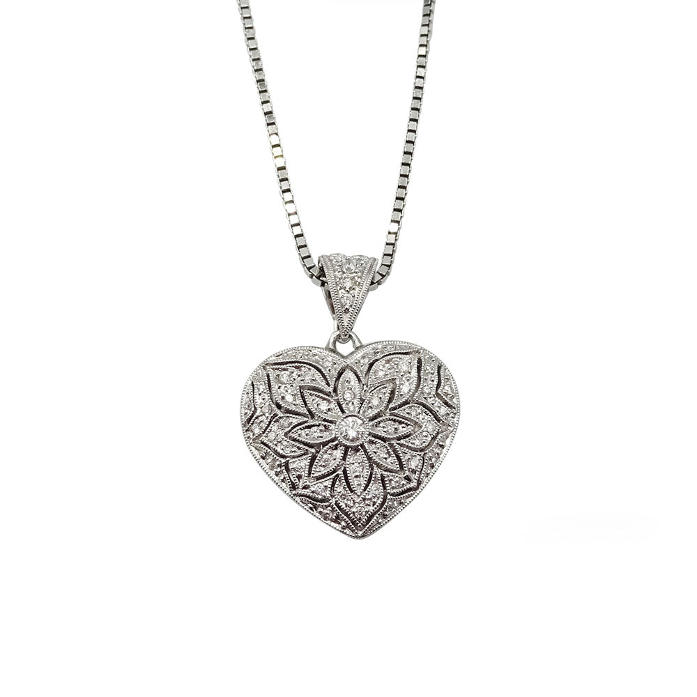 18ct White Gold Diamond Heart Locket With Box Chain 12g - Richard Miles Jewellers
