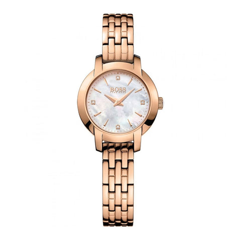 Hugo Boss 1502379 Ladies Mother Of Pearl Rose Gold Slim Watch 26mm