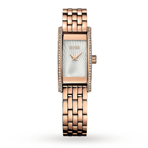 Hugo Boss 1502386 Ladies Cocktail Crystal Bezel Rose Gold Rectangle Watch 42mm - Richard Miles Jewellers
