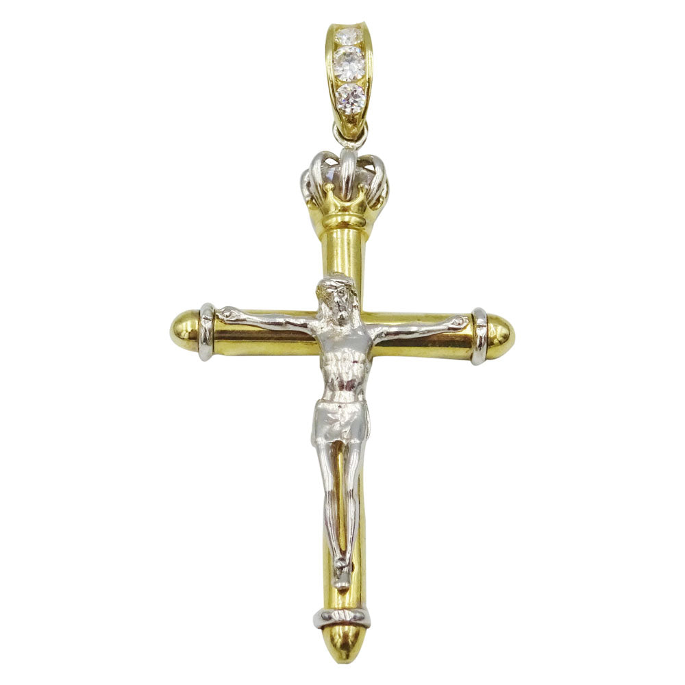 9ct Two Colour White Yellow Gold High Quality Detailed Jesus Crucifix 10.6g 53mm
