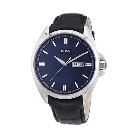 Hugo Boss 1512877 Gents Silver & Navy Black Leather Strap Watch - Richard Miles Jewellers