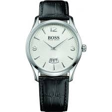 Hugo Boss 1513449 Stainless Steel Silver Watch With Black Leather Strap 41mm - Richard Miles Jewellers