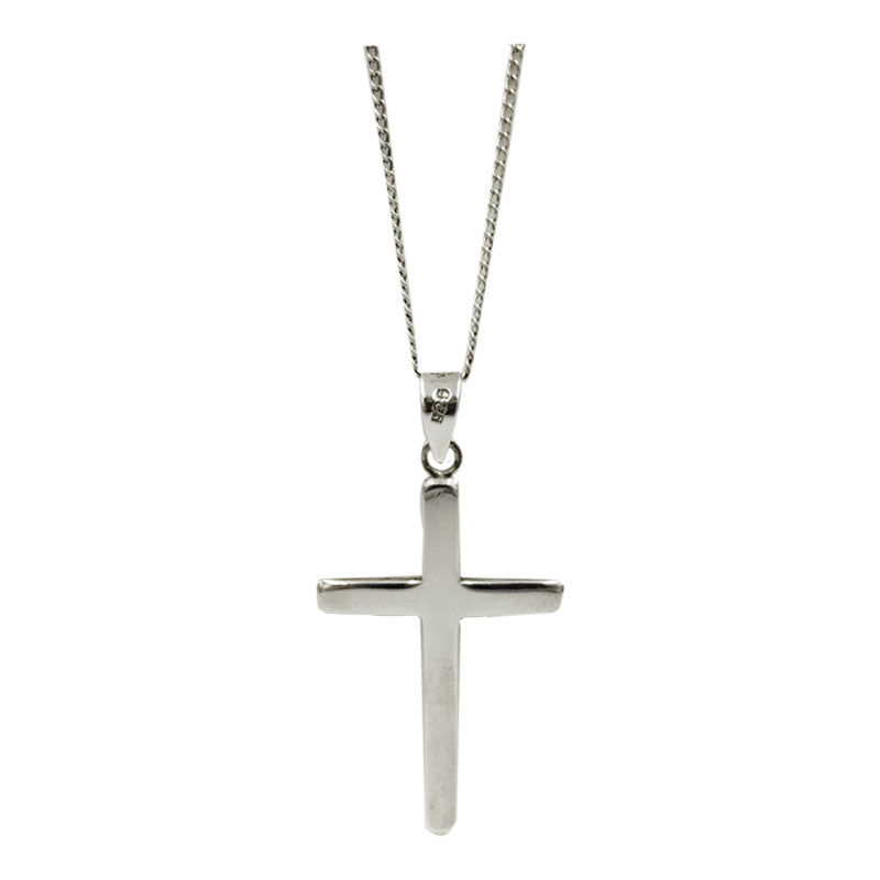 Sterling Silver 925 Hall Marked Plain Smooth Finish Cross Fine Curb Necklace 18inch 3.8g - Richard Miles Jewellers