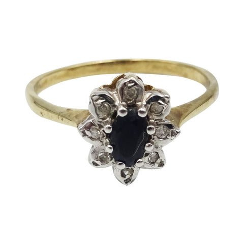 9 Ct Yellow Gold Ring Set With Sapphire & Diamond 0.08 Ct Size N