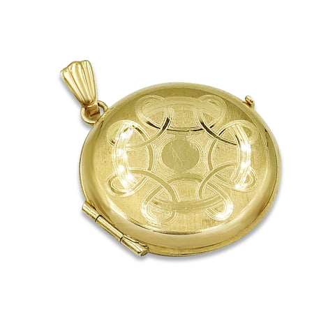 9ct Yellow Gold Round Locket With Celtic Patterning