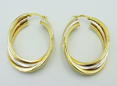 9ct Yellow White Gold Hall Mark 6g Intertwined 38mm Hoop Earrings RRP £240