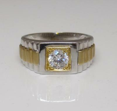 14ct 2 Colour White and Yellow Gold With White Stone Ring Size S 1/2 8g