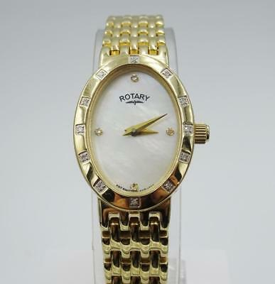 Rotary Ladies Oval Gold Plated Steel Mother Of Pearl Watch LB03336 - Richard Miles Jewellers