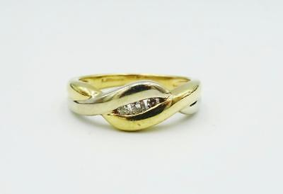 9ct Two Colour Yellow White Fancy Ladies 0.08ct Diamond Set Ring 2.9g Size J - Richard Miles Jewellers