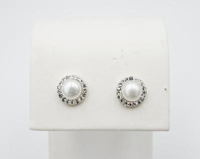 9ct Yellow Gold Ladies Pearl Halo Style Crystal Set Stud Earrings 8mm - Richard Miles Jewellers