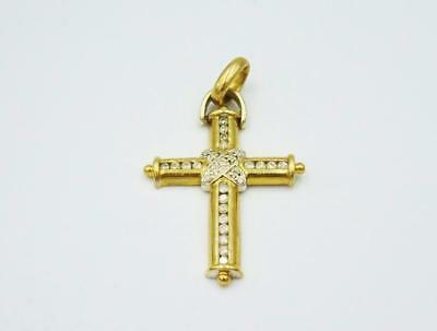 9ct Yellow Gold 0.55ct Large Diamond Channel Set Cross Mount 5.6g 35mm - Richard Miles Jewellers