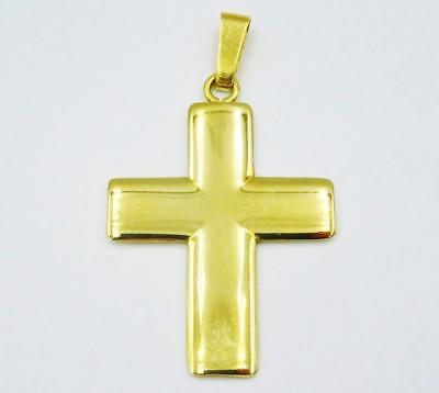 9ct Yellow Gold Flat Curved Edge Solid Cross 6.5g 34mm 27mm - Richard Miles Jewellers