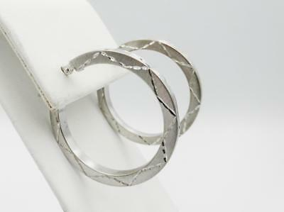 9ct White Gold 375 Patterned Matt Finish Ladies Hoop Earrings 33mm 3.2g - Richard Miles Jewellers