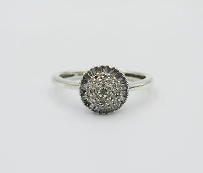 9ct White Gold Quality 0.25ct Diamond Ladies Round Cluster Ring Size J 1/2 1.8g - Richard Miles Jewellers