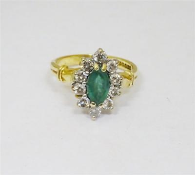 18ct Yellow Gold Ladies Emerald and Diamond 0.30ct Cluster Ring Size I 3.6g - Richard Miles Jewellers