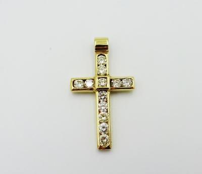 18ct Gold 0.85ct  12 Round Diamond Cross H SI1 Pendant 4g 31mm 18mm RRP £2999 - Richard Miles Jewellers