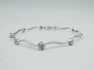 9ct White Gold Ladies Heart 375 0.07ct Diamond  Bracelet 7inch 4.5g 4.2mm