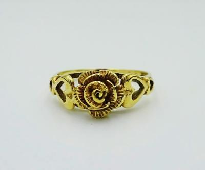 9ct Yellow Gold 375 Ladies 3D Rose Raised Shoulders Ring Size N 19mm 2.5g - Richard Miles Jewellers