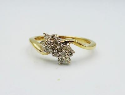 9ct Yellow Gold Fancy Twist Double Flower 0.25ct Diamond Cluster Ring 2.3g M 1/2