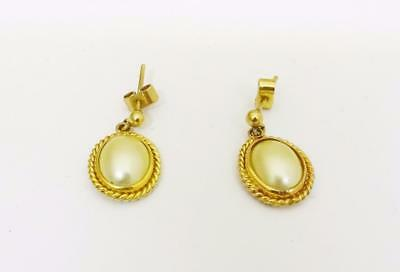 9ct Yellow Gold 375 Ladies Fancy Oval Synthetic Pearl Earrings 1.8g - Richard Miles Jewellers