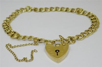 9ct Yellow  Gold Double Link Charm Bracelet with Heart Lock 7 inch 7.5g - Richard Miles Jewellers
