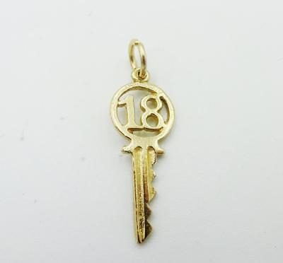 9ct Yellow Gold Trend '18' Key Pendant/Charm 0.7g 27mm 9mm