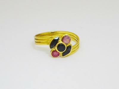 18ct Yellow Gold Ladies Ruby Sapphire Unique Ring Size N 2.4g 9.9mm - Richard Miles Jewellers