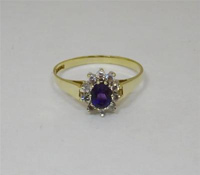 9ct Yellow Gold Cubic Zirconia Cluster Ring Size M1/2  1.3g - Richard Miles Jewellers