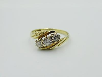9ct Yellow Gold Fancy 3 CZ Stone Detailed Shoulders Ladies Ring Size 1.7g L 1/2